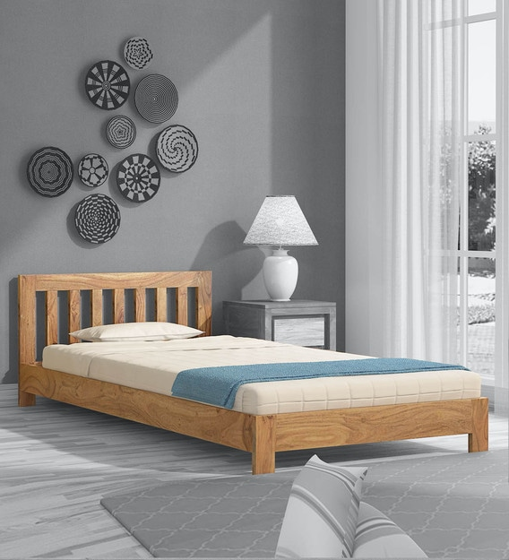 Buy Cicero Solid Wood Single Bed In Natural Finish Woodsworth By Pepperfry Online Contemporary Single Beds Beds Furniture Pepperfry Product