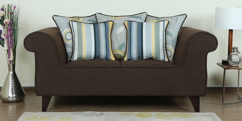 Cielo Two Seater Sofa in Chestnut Brown Colour by CasaCraft