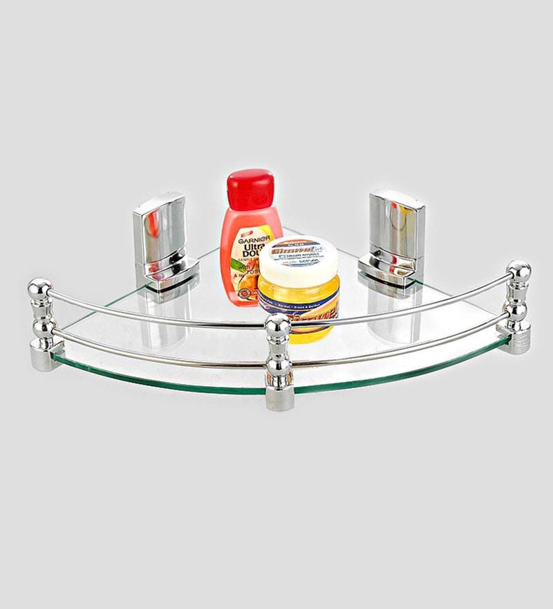 Cipla Plast Clear Glass 12 x 12 Inch Corner Shelf