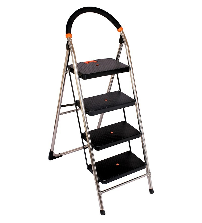 Cipla Plast Folding Stainless Steel Ladder with Chrome finish - MilanoSS 4 Steps