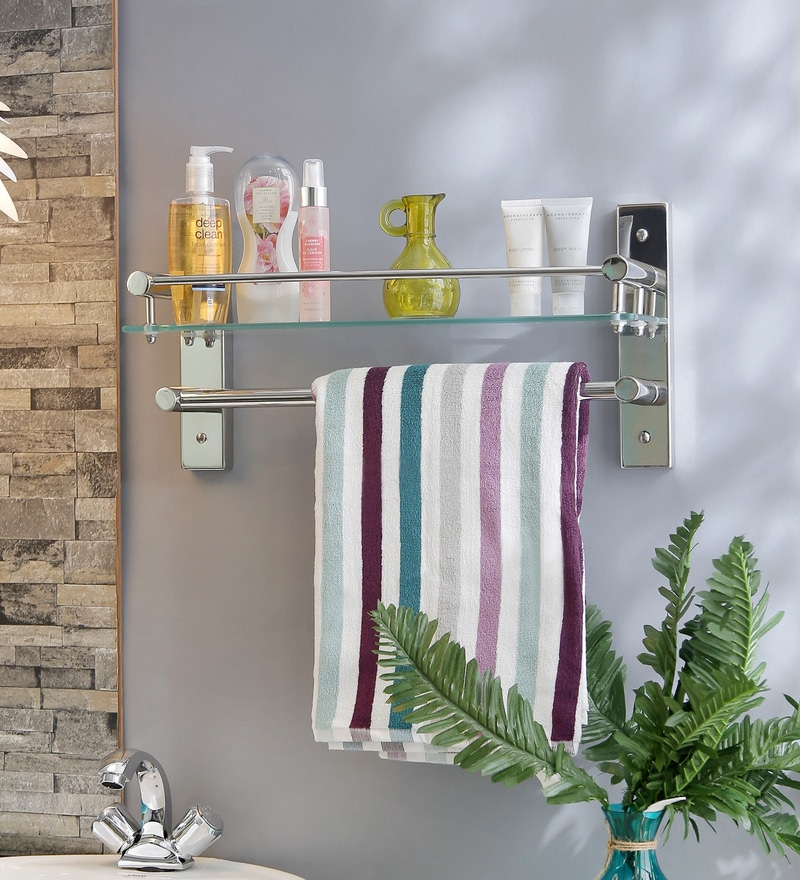 CiplaPlast Bathroom Glass Shelf with Towel Rod - Global 225G