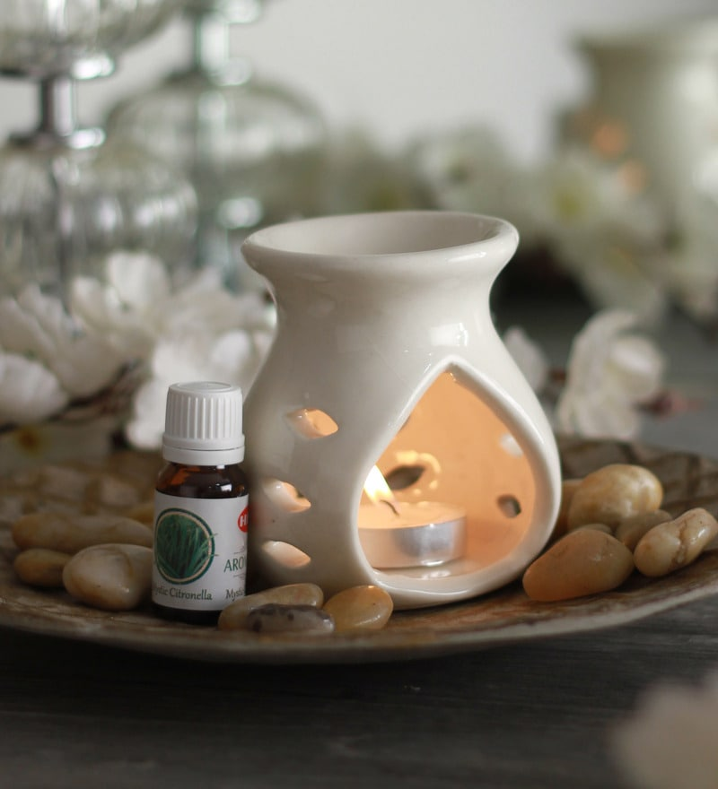 Citronella Mystic Aroma Oil with Ceramic Diffuser Pot & Tea Light Candle