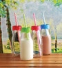 Circleware Glass 310 ML Milk Bottle with Straw - Set of 4
