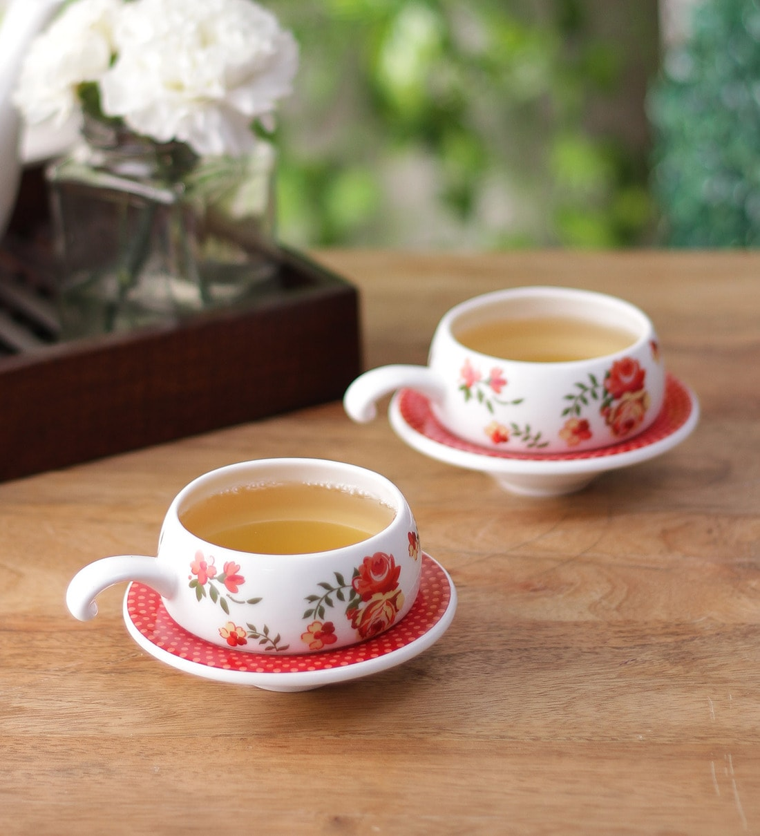 Buy Clay Craft White And Red Bone China 250 Ml Tea Cup And Saucer Set Set Of 6 Online Bone China Cups Saucers Bone China Cups Saucers Test Pepperfry Product