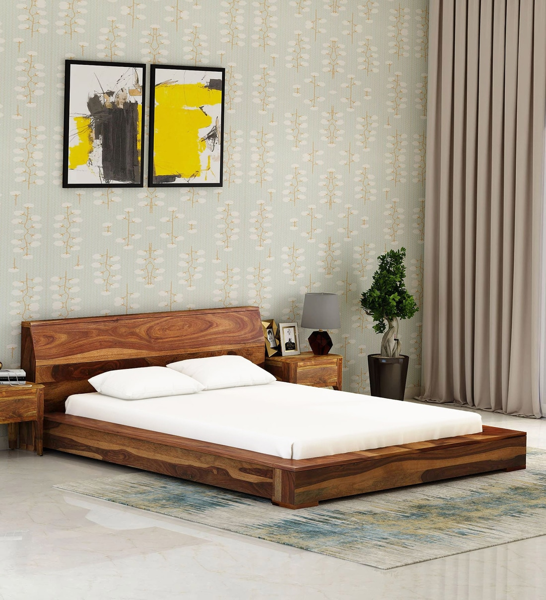 Picture of: Buy Clio Solid Wood Queen Size Platform Bed In Rustic Teak Finish By Woodsworth Online Platform Queen Size Beds Beds Furniture Pepperfry Product