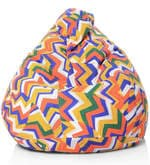 Geometric Design XL Bean Bag with Beans in Multicolour