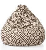 Geometric Design XXL Bean Bag with Beans in Multicolour