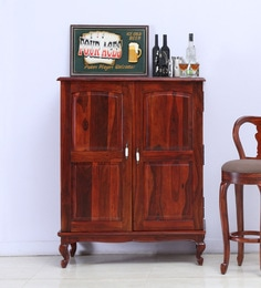 Clifford Solid Wood Bar Cabinet In Honey Oak Finish ...
