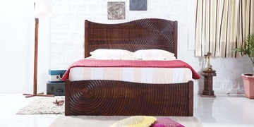 Cleveland Queen Bed With Box Storage In Provincial Teak Finish