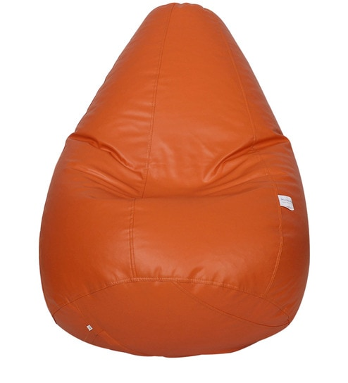 Classic Bean Bag With Beans In Orange Colour By Sattva