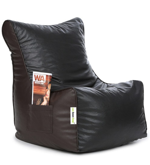 Classic XXL Bean Bag Chair With Beans In Black U0026 Brown Colour By Can