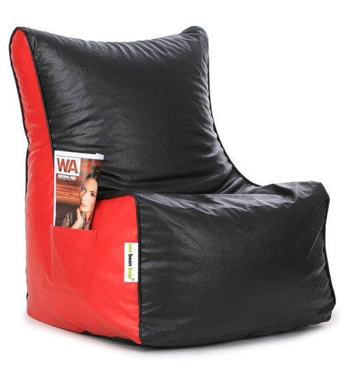 Classic L Bean Bag Chair With Beans In Black Red Colour By Can