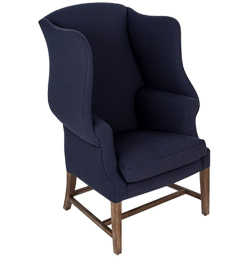 classic high back wing chair in indigo blue color by afydecor