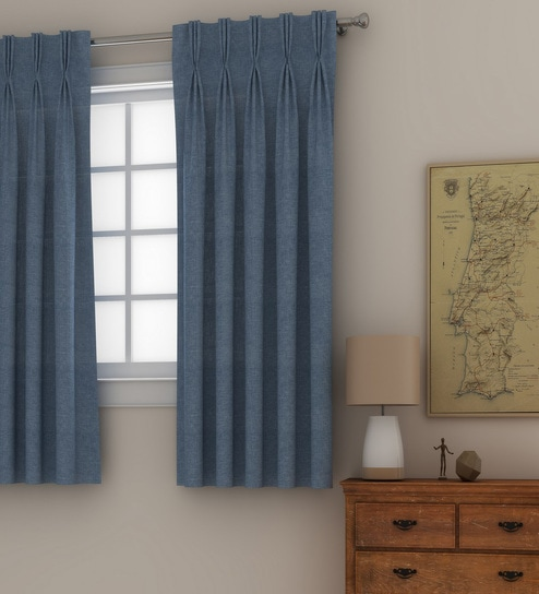 Classic Linen Textured 5 Feet Window Plain Matte American Pleat Curtain Set Of 2 By Curtain Label