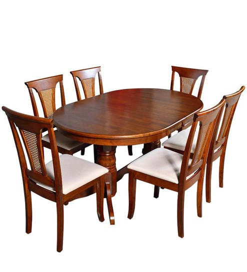 Classic Six Seater Dining Set With Oval Shaped Table In Brown Color By Afydecor