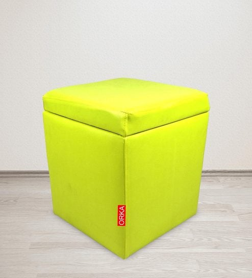 Enjoyable Classic Square Ottoman In Yellow Colour By Orka Ibusinesslaw Wood Chair Design Ideas Ibusinesslaworg