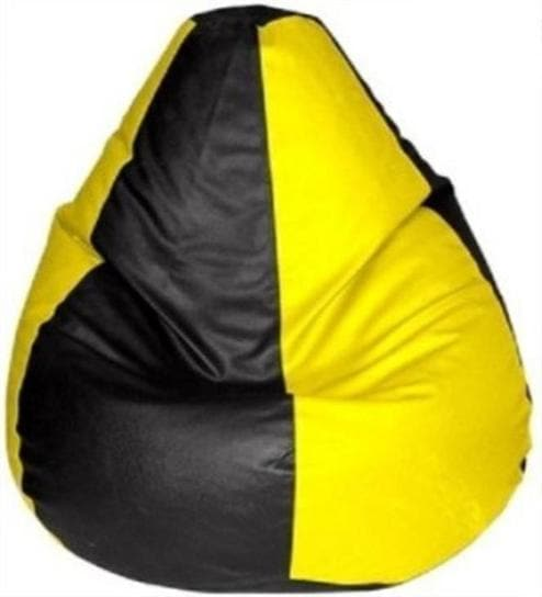 Classic Style Bean Bag with Beans in Black & Yellow Colour by Sattva