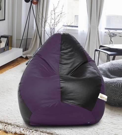 Astonishing Classic Style Xxl Bean Bag With Beans In Black Purple Colour By Sattva Theyellowbook Wood Chair Design Ideas Theyellowbookinfo
