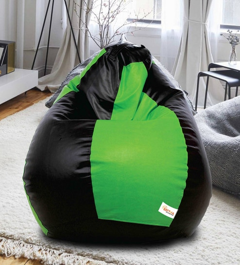 Awe Inspiring Classic Style Xxxl Bean Bag With Beans In Black Neon Green Colour By Sattva Creativecarmelina Interior Chair Design Creativecarmelinacom