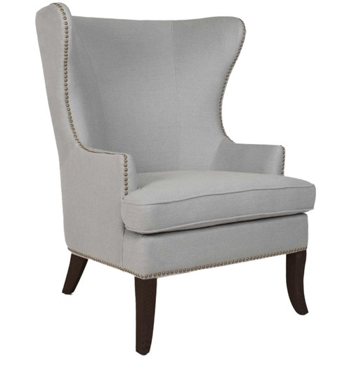 Superbe Classic Wing Back Chair With A Curved Back U0026 Legs In Grey Color By Afydecor