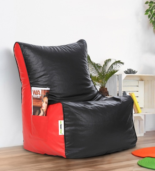 Buy Classic Xxl Bean Bag Chair With Beans In Black Red Colour By