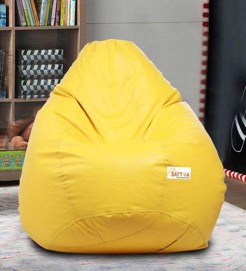 Classic Xl Bean Bag With Beans In Yellow Colour By Sattva