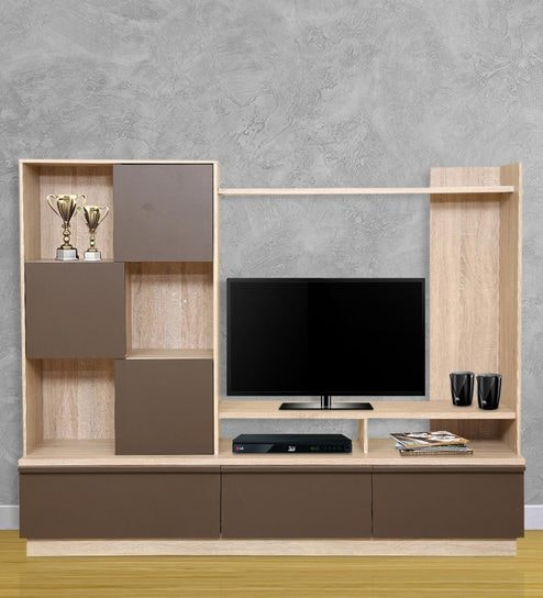 Buy Clover Wall Entertainment Unit in Light Oak & Dark Brown Finish ...