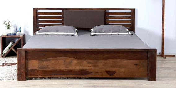 Upto 45% Off On Beds By Pepperfry | Clancy Queen Size Bed with Storage in Provincial Teak Finish by Woodsworth @ Rs.37,099