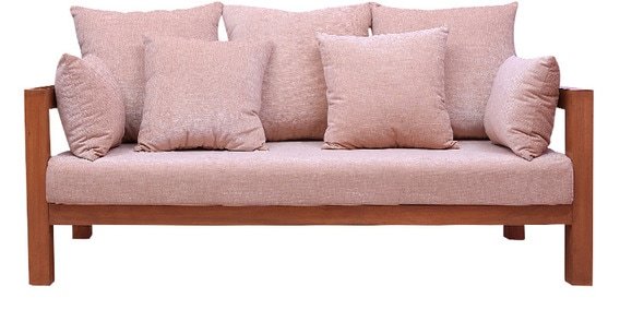Clara Wood Framed Sofa In Beige Colour By Planet Decor
