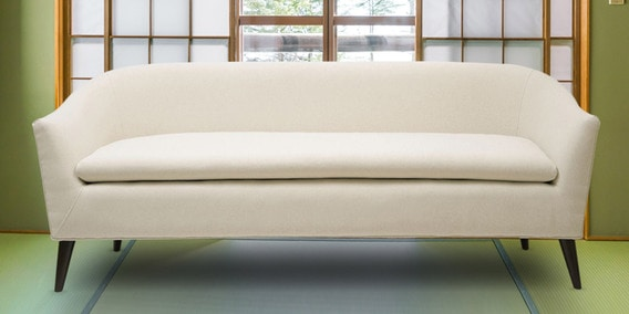 Classiest Mid-century Three Seater Sofa In White Colour