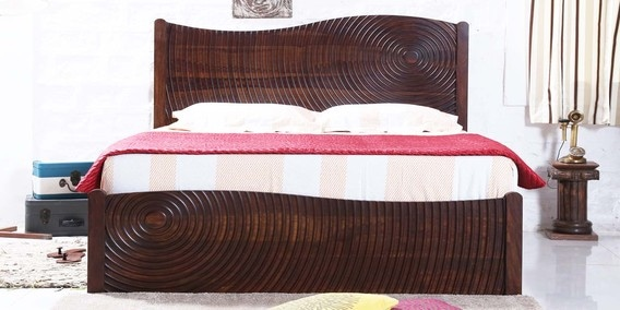 Espiral Queen Bed With Box Storage In Provincial Teak Finish