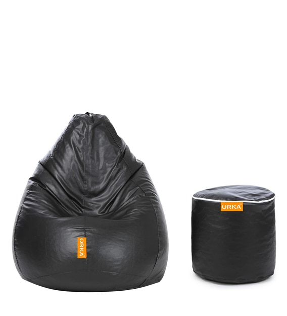 Buy Classic Combo Xxxl Bean Bag With Beans With Stylish Filled Footstool In Black Color By Orka Online Bean Bags With Beans Bean Bags Furniture Pepperfry Product