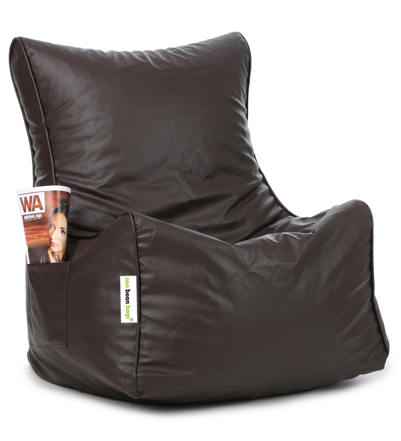 Classic XXL Bean Bag Chair with Beans in Brown Colour by Can
