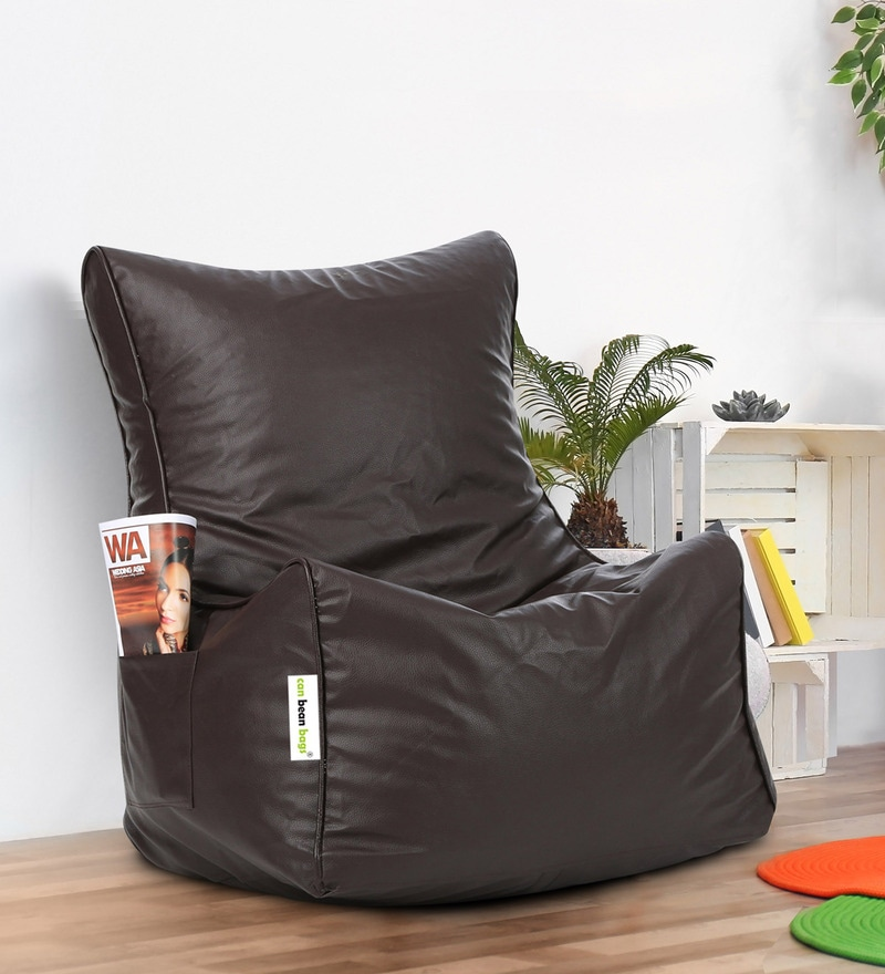 Buy Classic Xxl Bean Bag Chair With Beans In Brown Colour