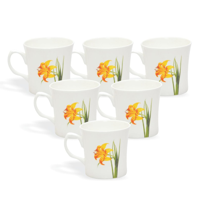 Clay Craft Choraliers Orange Bone China 220 ML Tea Cups - Set of 6