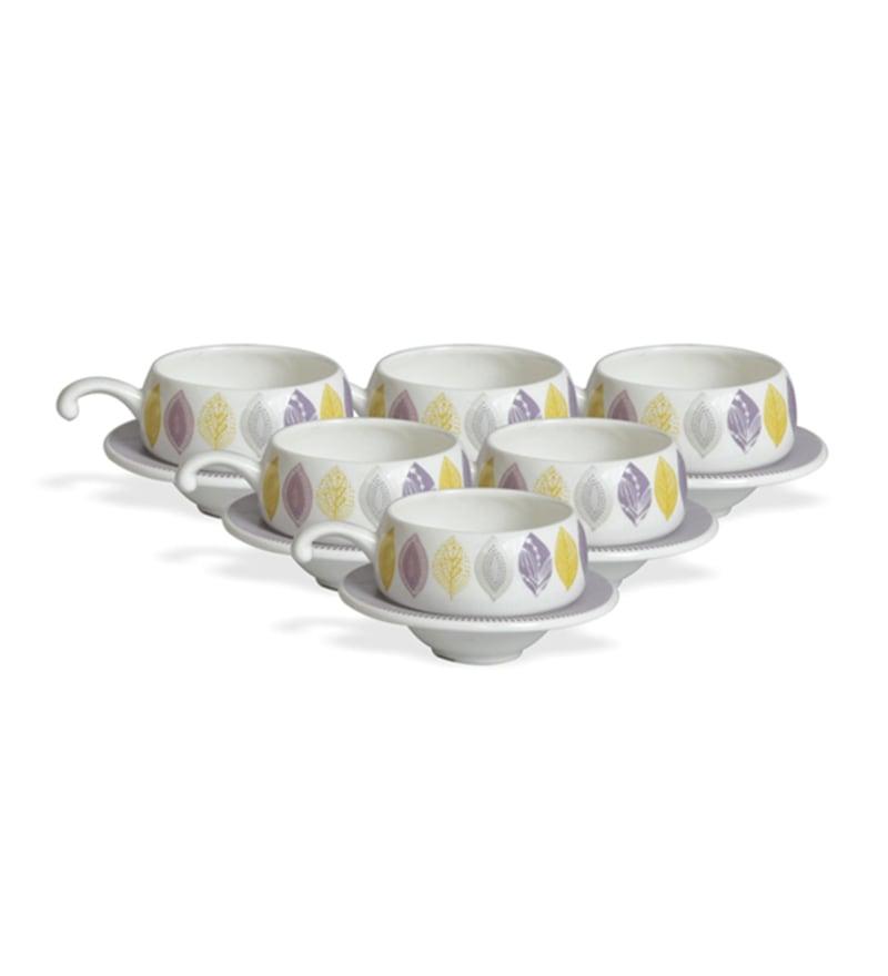 Clay Craft Loreto Bone China 195 ML Cup & Saucer - Set of 6