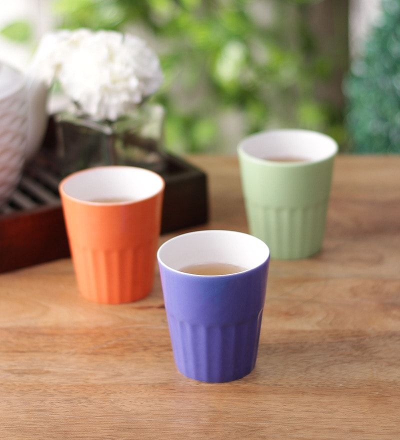Clay Craft Multicolor Bone China 250 ML Tumbler - Set of 6