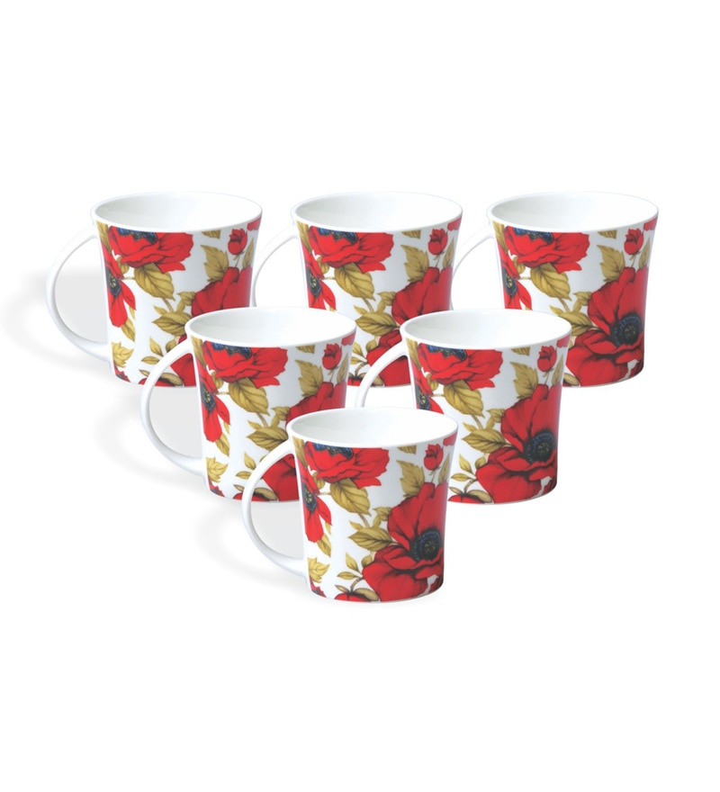 Clay Craft Red Canaletto Bone China 195 ML Tea Cups - Set of 6