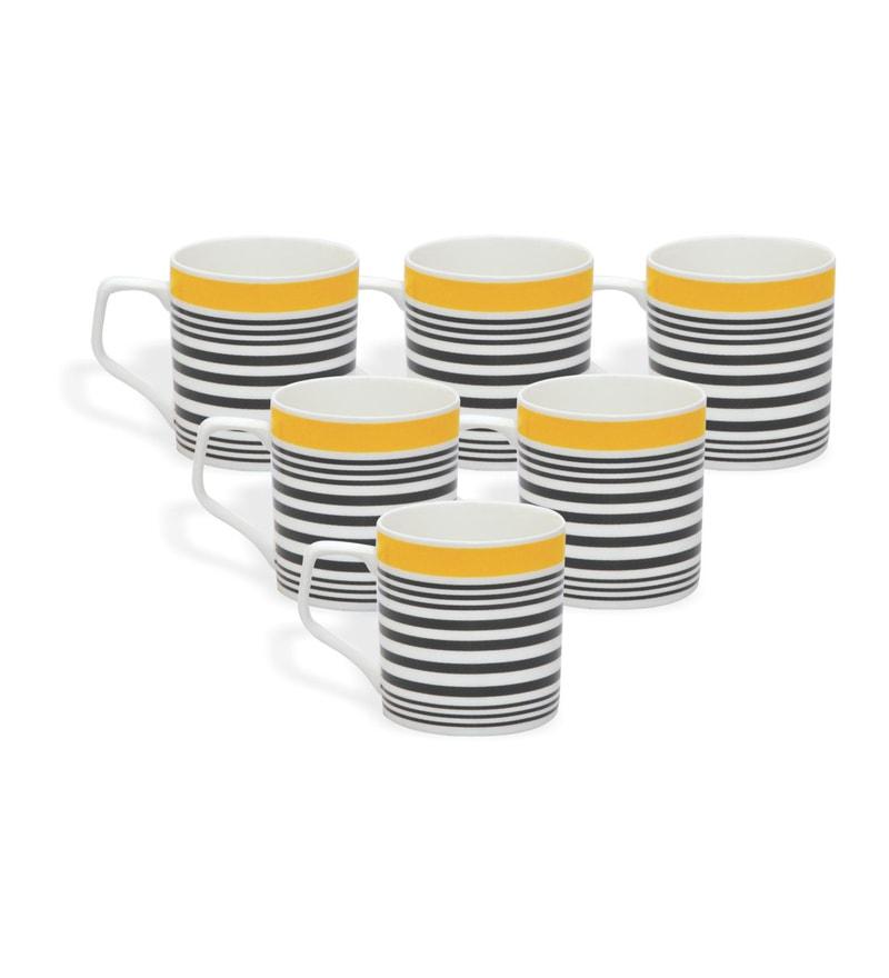 Clay Craft Sage Yellow Bone China 220 ML Tea Cups - Set of 6