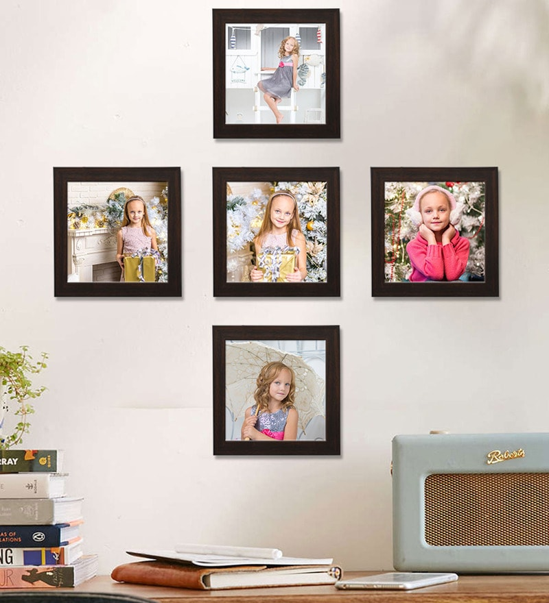 c28155f9ff6c Buy Clixicle Brown Synthetic Wood Collage Photo Frame-Set of 5 ...