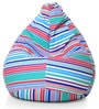Classic Cotton Canvas Striped Bean Bag XL Size with Beans by Style Homez