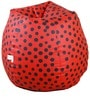 Polka Dot Theme Filled Bean Bag in Black & Red Colour by Orka