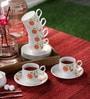 Clay Craft Karina 291 Bone China 150 ML Cup & Saucer - Set of 6
