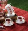 Clay Craft Ngeorgian 267 Bone China 150 ML Cup & Saucer - Set of 6