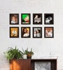 Clixicle Brown Synthetic Wood Collage Photo Frame-Set of 8