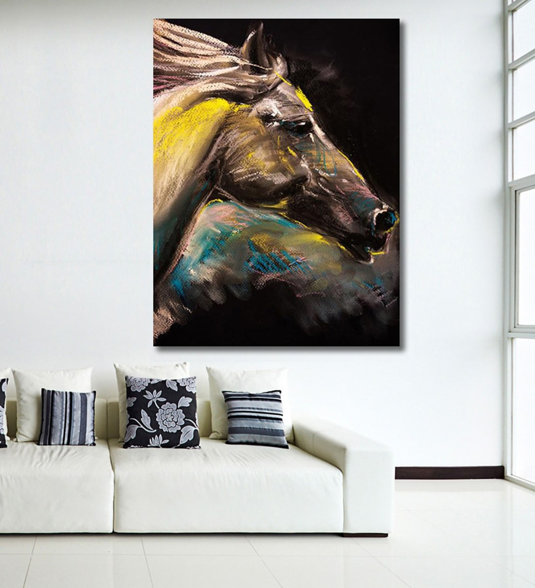 Buy Cotton Canvas 36 X 0 4 X 48 Inch White Horse Painting Unframed Digital Art Print By 999store Online Wildlife Art Prints Art Prints Home Decor Pepperfry Product