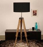 Black Cotton Floor Tripod Lamp