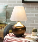 Murya Antique Brass Table Lamp With White texture Shade