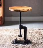 Cowal Stool cum End Table in Natural Sheesham Finish