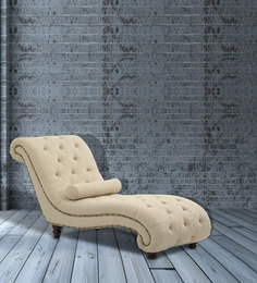 Comfortable Tufted Lounge Chaise In Beige Colour
